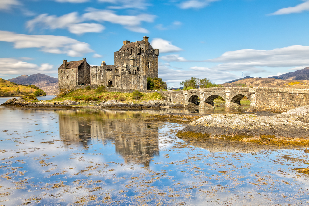 Eilean Donan Castle in Dornie in the Scottish Highlands, Scotland